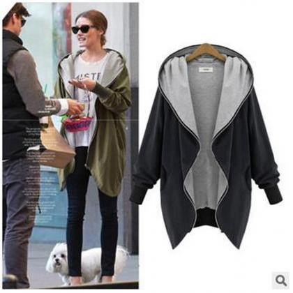 Fashion New Women Loose Hooded Coll..