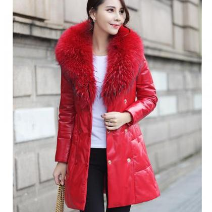 High Quality Red Fur Collar Leather..