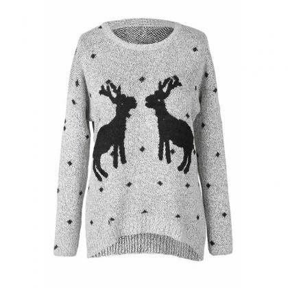 Cute Deers Round Neck Long Sleeve S..