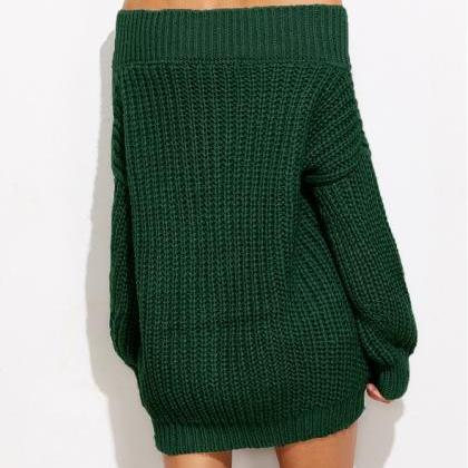 Forest Green Knitted Off-The-Should..