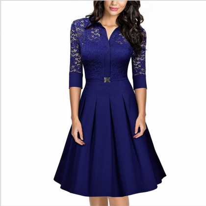 Elegant Lace Career Work Dress Shir..