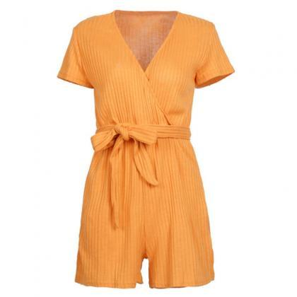 Mustard Yellow Ribbed Plunge V Shor..