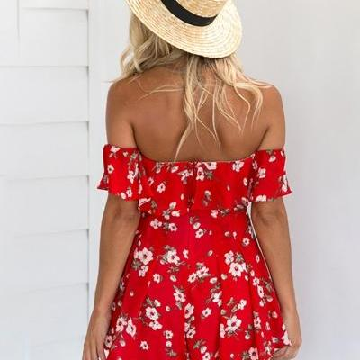 Red Floral Print Ruffled Off-The-Sh..