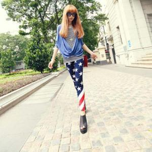 Women's Fashion US. Flag Star Strip..