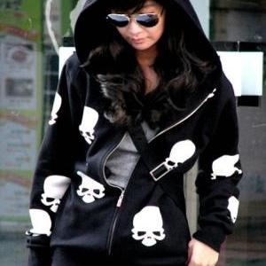 Cute Skull Head Print Long Sleeve B..
