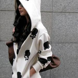 Cute Skull Head Print Long Sleeve H..
