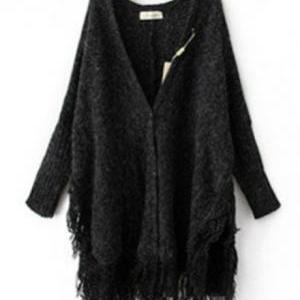 Fashion Tassel Decoration Long Slee..