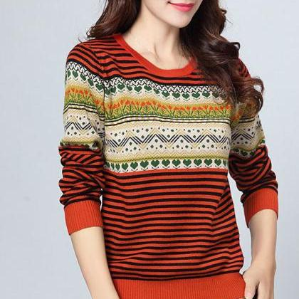 Stripe Pattern Print Round Neck Wom..