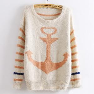 Women Striped navy retro Sweater - ..