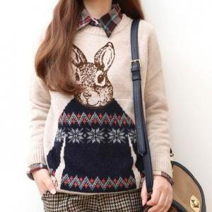 Girls Sweet Rabbit Print Long Sleev..
