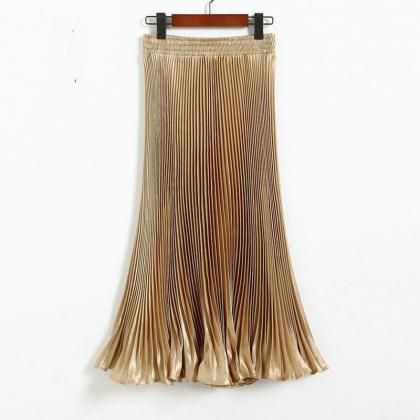 Casual Women Long Pleated Skirt