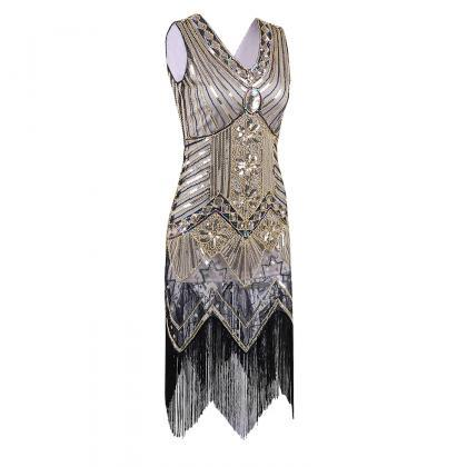 Fashion Sleeveless V Neck Sequin Sh..