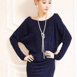 Sparkle Cotton Batwing Sleeve Strai..