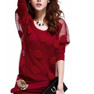 Fashion Two Pieces Wine Batwing Sle..