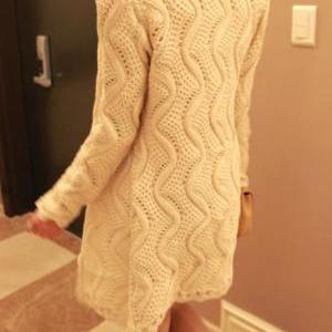 Formal Long Pattern Beige Button Cl..