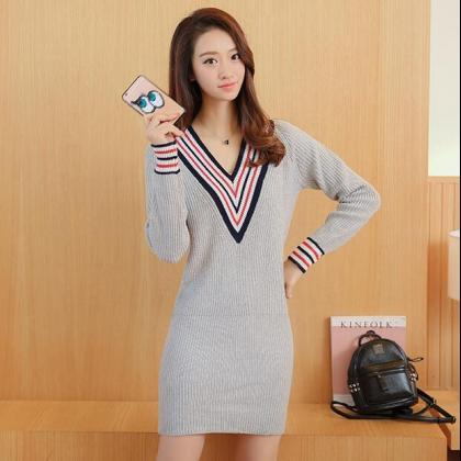 Casual V-neck Long Sleeve Sweater D..