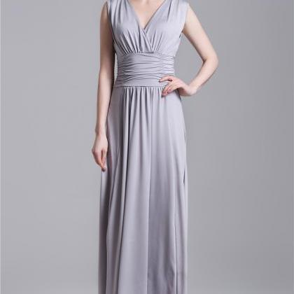 Sexy V Neck Grey Pleated Long Dress