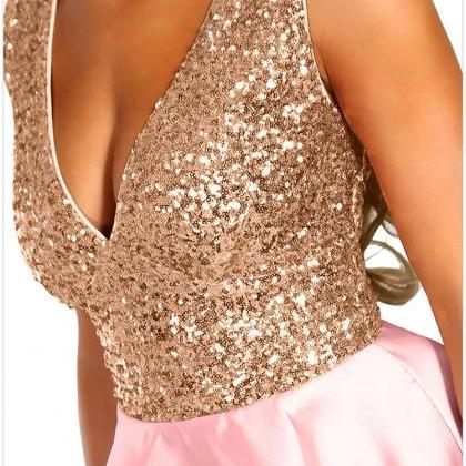 V Neck Pink Sequin Multi Party Dres..