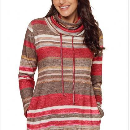 Long Sleeve Cowl Neck Pullover Swea..