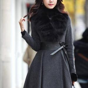 Fashion Fur Collar Sheared Waist Wo..