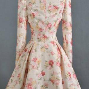 Exquisite Floral Print Puff Sleeve ..