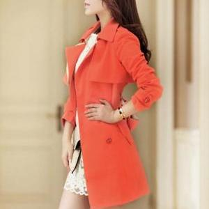 Lady Style Turndown Collar Trench C..
