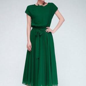 Chic Cap Sleeve Empire Waist Chiffo..