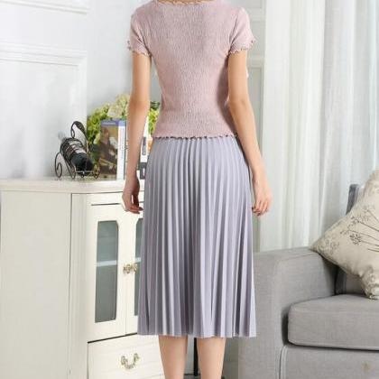 Elegant Summer Chiffon Women Pleate..