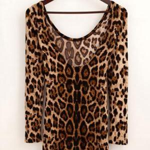 Skinny Round Neck Open Back Long Sl..