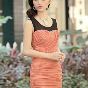 Sheath Woman Ruched Dress with Roun..