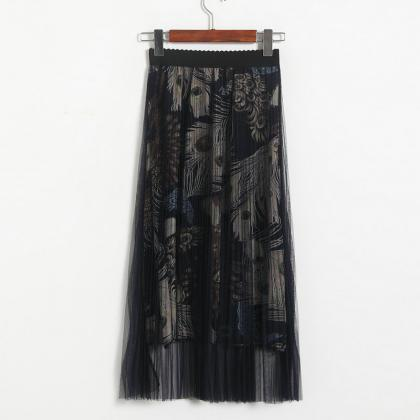 New High Waisted Pleated Printed Lo..
