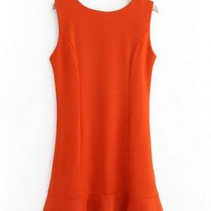 Orange Sleeveless Crew Neck Mini Fi..