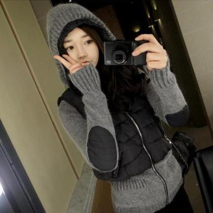 High Quality Hooded Collar Loose Sw..