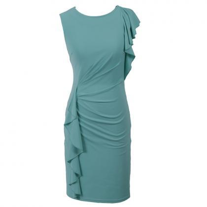 Elegant Solid Long Sleeveless Dress..