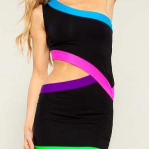 Chic One Shoulder Bodycon Dress wit..