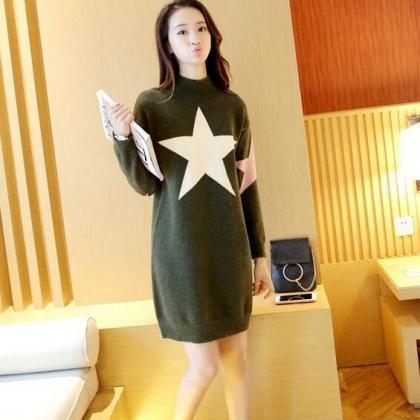Cute Star Loose Pullover Sweater Dr..