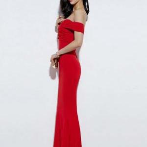 Sexy And Elegant Off Shoulder Red M..