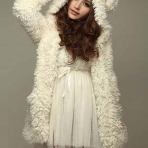 Cute Bear Hat Cashmere Winter Coat ..