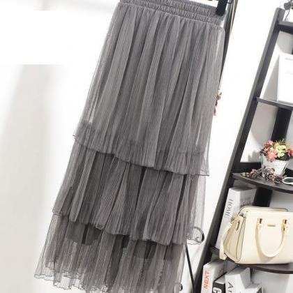 High Waisted Tiered Ruffle Tulle Sk..