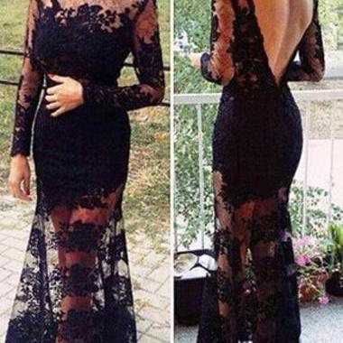 Sexy Open Back Boat Neck Lace Embro..