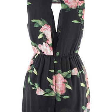 Black Floral Print Sleeveless Rompe..