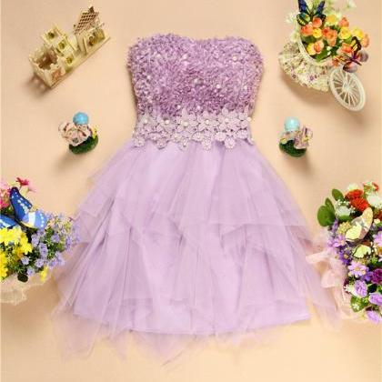 Sweet Gauze Sleeveless Purple Mini ..