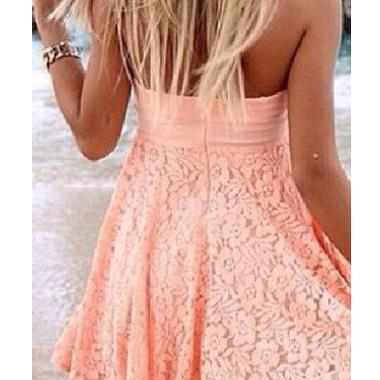 Sexy Strapless Open Back Lace Beach..
