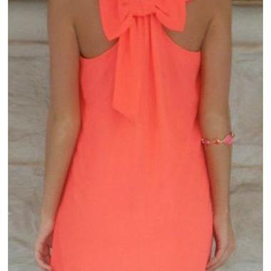 Cute Bowknot Embellished Round Neck..