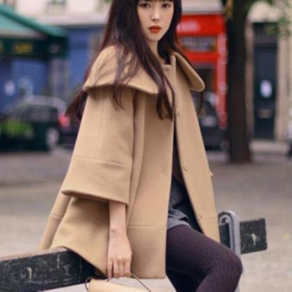 Fashion Turndown Collar Woolen Cape..