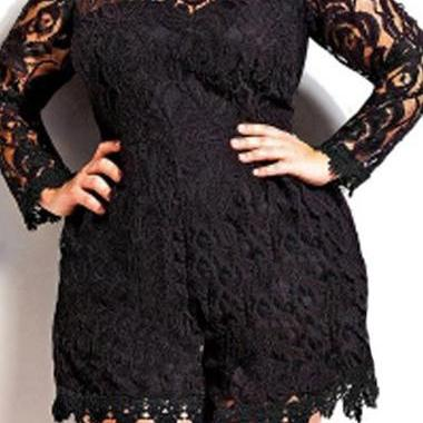 Fashion Lace Splicing Plus Size Rom..