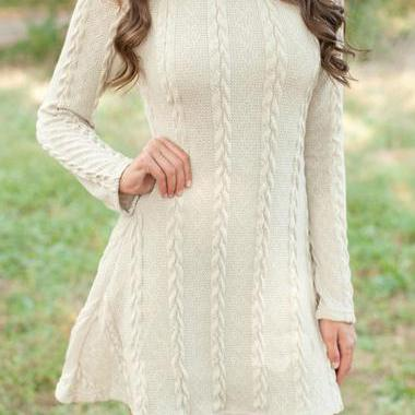 Fashion Round Neck Mini Sweater Dre..