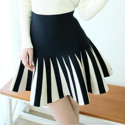 New Autumn Strip Knitting Skirt