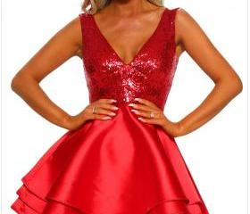 V Neck Red Sequin Mu..