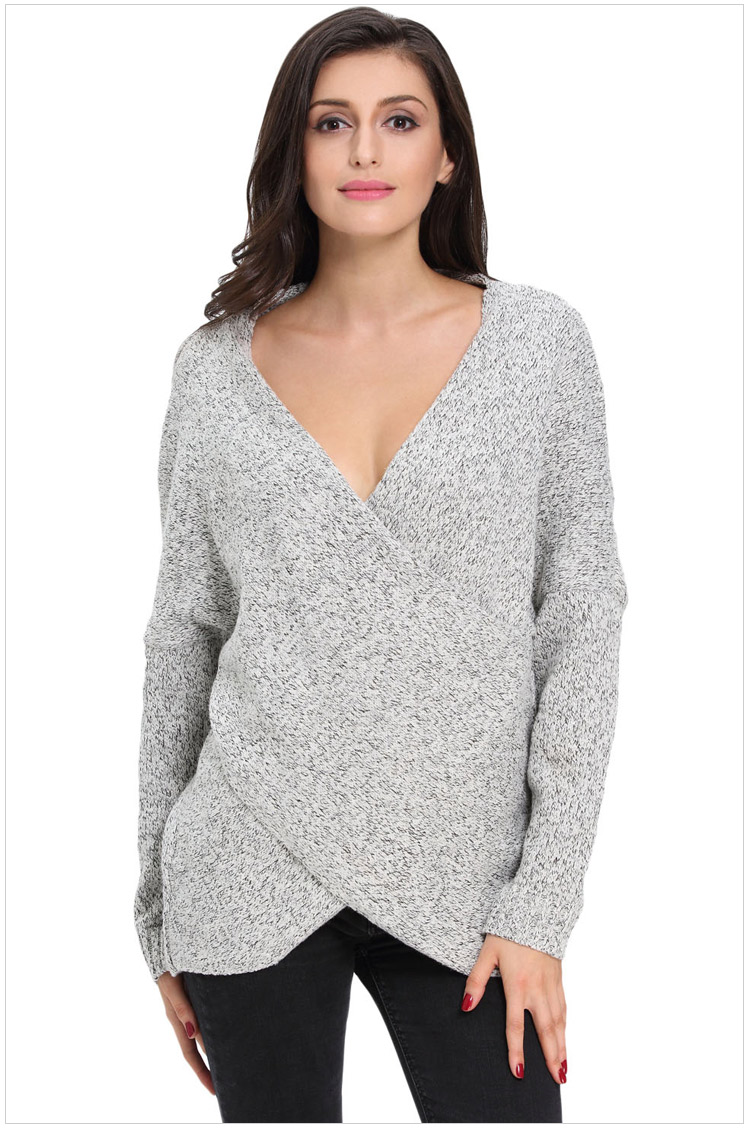 Grey Plunge V Long Cuffed Sleeves Sweater